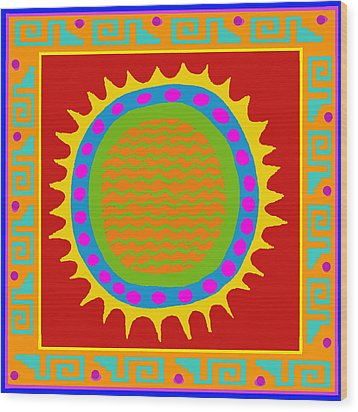 Aztec Del Sol Wood Print by Vagabond Folk Art - Virginia Vivier