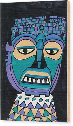 Aztec Mask Wood Print by Don Koester