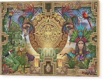 Aztec Mayhem Montage Wood Print by Ciro Marchetti