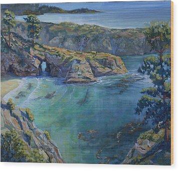 Azure Cove Wood Print by Heather Coen