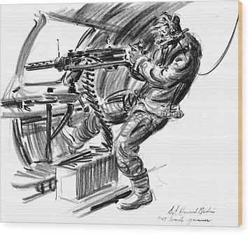 B-17 Waist Gunner 1942 Wood Print by Padre Art