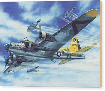 B-17g Flying Fortress A Bit O Lace Wood Print by Stu Shepherd