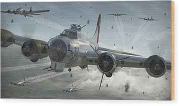 B-17g Hikin' For Home Wood Print