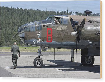 B-25 Bomber Pre-flight Check Wood Print by Daniel Hagerman