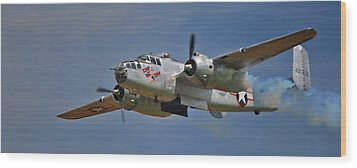 B-25 Take-off Time 3748 Wood Print by Guy Whiteley