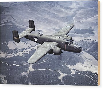 B-25 World War II Era Bomber - 1942 Wood Print by Daniel Hagerman