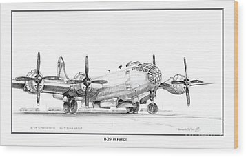 B-29 Wood Print by Kenneth De Tore