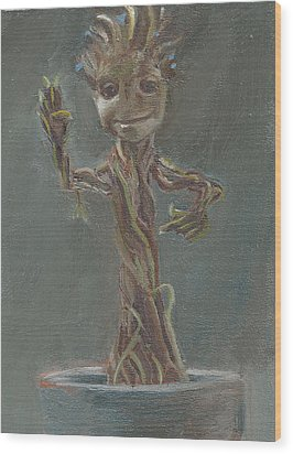 B And G Is For Baby Groot Wood Print by Jessmyne Stephenson