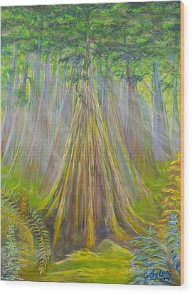 Wood Print featuring the painting B C Cedars by Cathy Long