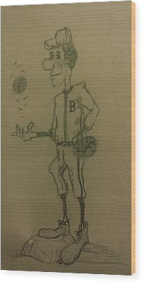 B Is For Baseball Wood Print by Christy Saunders Church