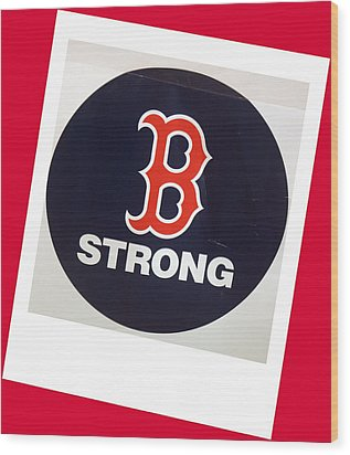 B Strong Red White And Blue Wood Print by Caroline Stella