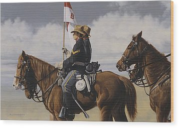 Wood Print featuring the painting B Troop by Ron Crabb