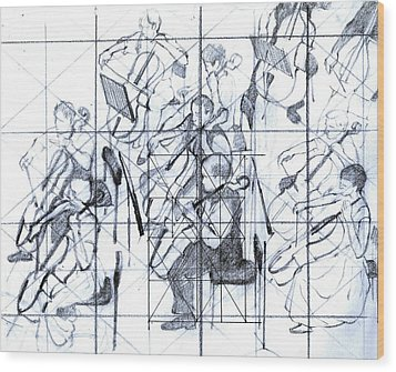 B01. Producing A Large Composition On Canvas - Initial Layout Wood Print