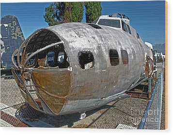 B17 Derelict Airplane - 01 Wood Print by Gregory Dyer
