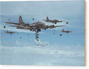 B17 - Mighty 8th Arrives Wood Print