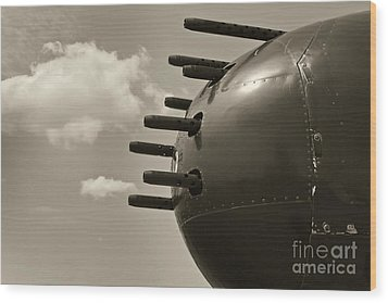 B25 Mitchell Bomber Airplane Nose Guns Wood Print by M K  Miller