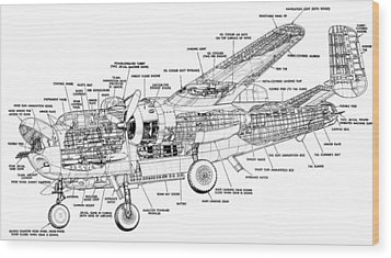 B25 Mitchell Schematic Diagram Wood Print