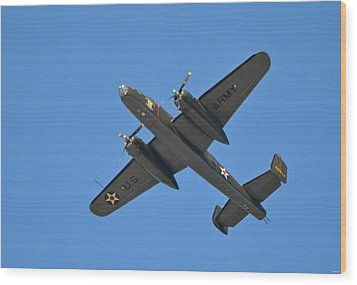 B25 Mitchell Wwii Bomber On 70th Anniversary Of Doolittle Raid Over Florida 21 April 2013 Wood Print by Jeff at JSJ Photography