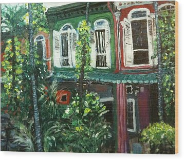 Wood Print featuring the painting Baba Nonya House by Belinda Low