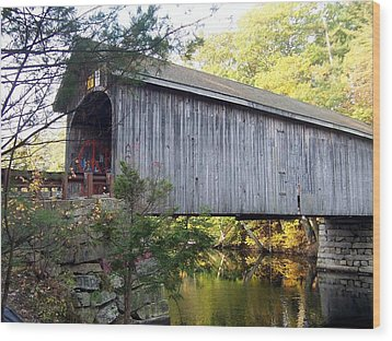 Babbs Covered Bridge In Maine Wood Print by Catherine Gagne