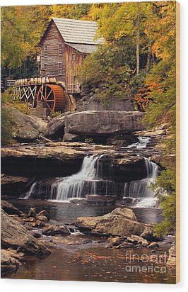 Wood Print featuring the photograph Babcock Grist Mill And Falls by Jerry Fornarotto