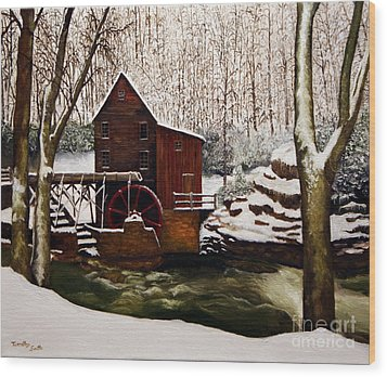 Babcock Mill In The Snow Wood Print by Timothy Smith