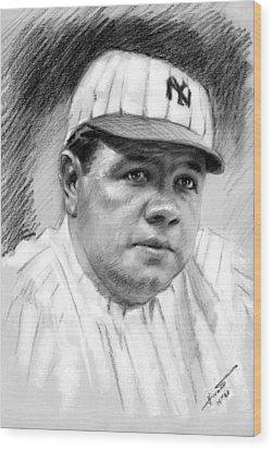 Babe Ruth Wood Print by Viola El