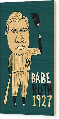Babe Ruth New York Yankees Wood Print by Jay Perkins