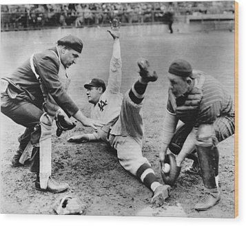 Babe Ruth Slides Home Wood Print by Underwood Archives