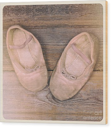 Baby Ballet Shoes Instant Photo Wood Print by Jane Rix