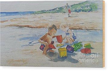Baby Beach Bums Wood Print