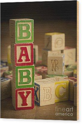 Baby Blocks Wood Print by Edward Fielding