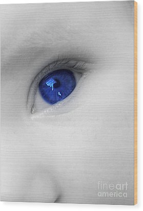 Baby Blue Wood Print by Nina Ficur Feenan