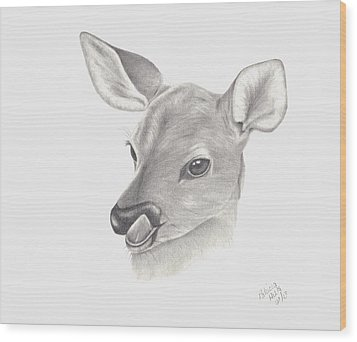 Baby Deer Wood Print by Patricia Hiltz