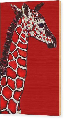 Baby Giraffe In Red Black And White Wood Print