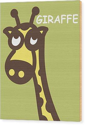 Baby Giraffe Nursery Wall Art Wood Print by Nursery Art