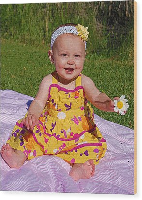 Baby Girl Wood Print by Kimberley Anglesey