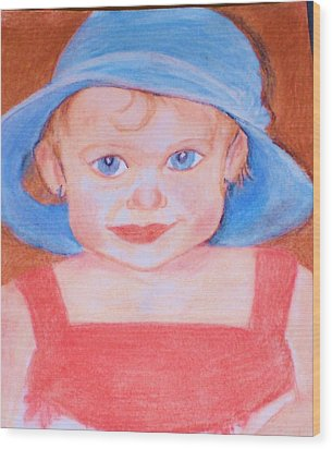 Wood Print featuring the pastel Baby In Blue Hat by Christy Saunders Church