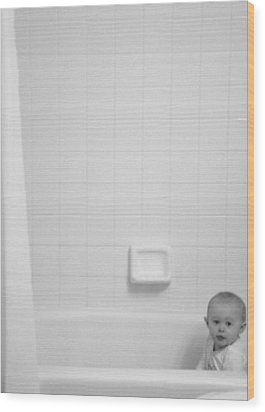 Wood Print featuring the photograph Baby In Tub by J Anthony