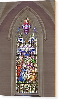 Baby Jesus Stained Glass Window Wood Print by Susan Candelario