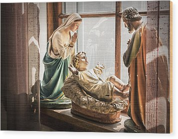 Baby Jesus Welcoming A New Day Wood Print by Nancy Strahinic