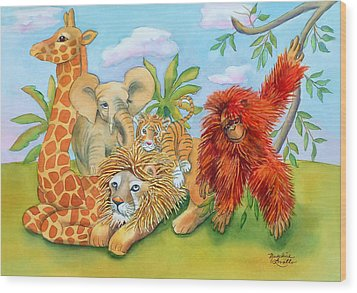 Baby Jungle Animals Wood Print
