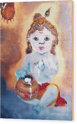 Baby Krishna Wood Print by Ayasha Loya