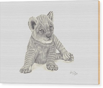 Baby Lion Wood Print by Patricia Hiltz