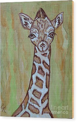 Baby Longneck Giraffe Wood Print