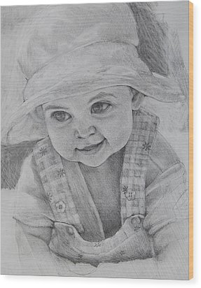 Wood Print featuring the drawing Baby Meg by Jani Freimann
