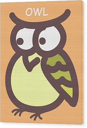 Baby Owl Nursery Wall Art Wood Print by Nursery Art