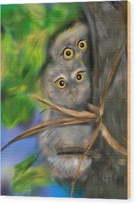 Wood Print featuring the digital art Baby Owls by Christine Fournier