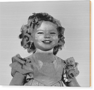 Baby Shirley Temple Sketch Wood Print by Linda Phelps