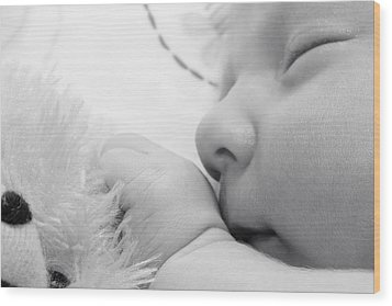 Wood Print featuring the photograph Baby Sleeping With Teddy Bear by Tracie Kaska